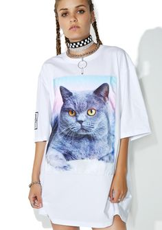 Cool Shit Cat Tee cuz yew just can't get enough kittiez, bb. Show yer luv in this tee that features a soft white construction, oversized fit, and a big ass graphic of a cute af kitty in some candy colored cloudz.
