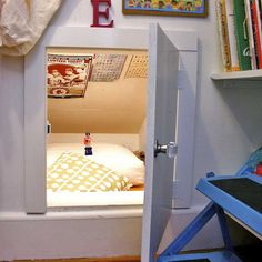 A darling idea for an attic crawl space for anyone!