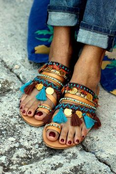 Handmade leather sandals, decorated with baby blue Preciosa crystals, cotton tassels and wonderful metal charms.