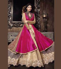 Pink Pakistani Wedding Silk Embroidery Lehega Suit