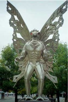 """The Mothman - On Nov.15,1966, 2 couples were driving near an abandoned TNT factory in Pt.Pleasant, W.Virginia.  Driving down the exit road, they saw the supposed creature standing on a nearby ridge. It spread its wings and flew alongside the vehicle up to the city limits. They drove to the Mason County courthouse to alert Deputy Millard Halstead, who later said, """"I've known these kids all their lives. They'd never been in any trouble & they were really scared that night. I took them…"""