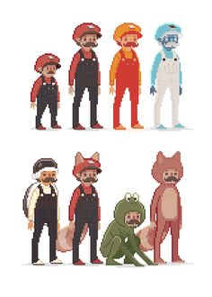 Pixel Marios by Ryan Andrews. (Click-through to see them animated.)
