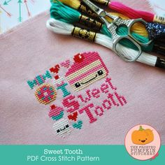Limited Edition: Sweet Tooth PDF Cross Stitch Pattern / The Frosted Pumpkin Stitchery