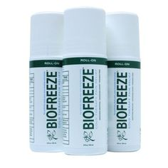 Biofreeze Pain Relieving Roll On, Unique, cooling formulation is also comforting to sore muscles and muscle sprains; easing back, shoulder and neck pain; reducing painful ankle, knee, hip and elbow joints and helping to lessen effects of muscular strains. 3-Ounce (Pack of 3)