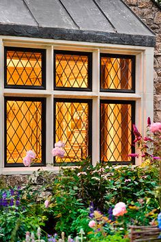 lead windows - amber glow... Every cottage needs these!