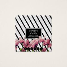 Modern White Floral Damask & Black Stripes Loyalty Square Business Card - event gifts diy cyo events