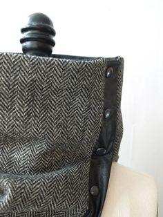 Cowl, scarf  black and white herringbone wool.via Etsy.