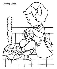 counting money christmas shopping coloring page