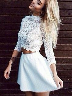 Sexy two piece high neck three quarter sleeves white homecoming dresses, short prom dresses under 100 Cheap Short Prom Dresses, Hoco Dresses, Sexy Dresses, Ball Dresses, Long Sleeve Homecoming Dresses, Pretty Dresses, White Lace Shorts, White Dress, White Lace Tops