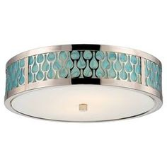 Eco-friendly flush mount with a white glass shade.  Product: Flush mountConstruction Material: Glass and metalColor: Polished nickel and turquoise  Features: Eco-friendlyAccommodates: (2) LED bulbs - includedDimensions: 4.375 H x 15 Diameter