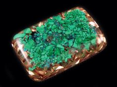 Malachite Chrysocolla Pocket Orgonite® with Herikmer Diamond