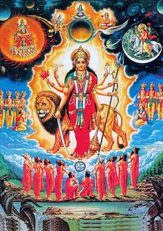 Devi Durga Surrounded by Gods and Sages (via Dolls of India)