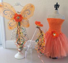 Orange Tutu Fawn Tinkerbell Orange Fairy Wings by partiesandfun