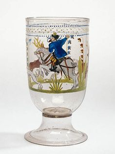 Bohemian, 1576  Free-blown colorless (purplish-brown) glass with gold leaf and enamel decoration