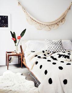 bedroom polkadot bed white boho california style