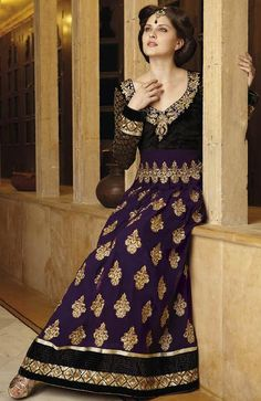 $106.86 Purple and Black Full Sleeve Viscose Designer Salwar Kameez 13473