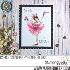 Stamping Bella Tiny Townie Garden Girl Orchid rubber stamp Card. Click through for full details and a colouring video!