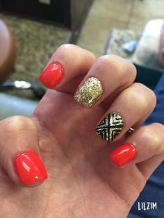 Red Orange with Glitter and Pattern