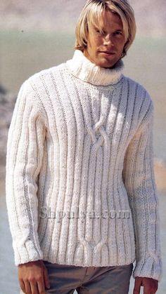 Белый мужской свитер, вязаный спицами