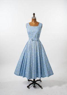 b67a8ed77f2c Vintage Laura Ashley Dress: 1980s Blue Cotton Mid Century Style Designer  Tea Length, Wide Circle Skirt, Summer Country Sundress Medium