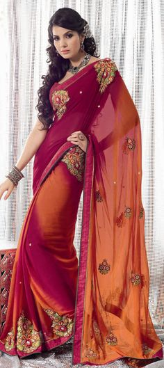 Red, Maroon, and Orange Saree