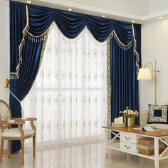 Twynam Blue and Green Waterfall and Swag Valance and Sheers Custom Made Chenille Velvet Curtains Pair. one pair velvet curtains and one pair sheers and one panel velvet valance. Green Curtains, Velvet Curtains, Curtains With Blinds, Valance Curtains, Bedroom Curtains, Valances, Curtain Styles, Curtain Designs, Waterfall Valance