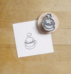 NEW Clouds in My Coffee Hand Carved Rubber Stamp by extase on Etsy, $10.00