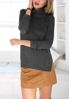 Dark Grey High-Low Turtleneck Sweater – Lookbook Store