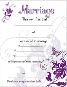 Marriage Wedding Certificate with Purple Butterflies