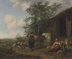 Gerrit Adriaensz. Berckheyde, 'An Italianate landscape with peasants outside a barn', Christie's Old Masters | Artsy