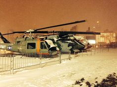 The helicopters on the flight deck during the #Blizzardof2015 in January 2015.