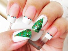 I am presenting before you easy Christmas tree nail art designs and ideas of These Xmas nails are so impressive and stunning that one can't resist the temptation of applying them in first go. Christmas Tree Nail Art, Holiday Nail Art, Christmas Nail Art Designs, Christmas Trees, Christmas Decorations, Simple Christmas, Green Christmas, Christmas Design, Xmas Tree