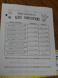 Fun 100th day activities - what I can do in 100 seconds, what I can build with 100 legos, and a 100th day snack.