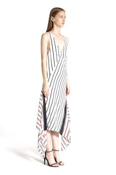 TOME - Striped Silk Hankerchief Hem Dress