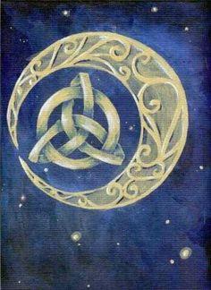 Celtic knot moon with triquetra Celtic Symbols, Celtic Art, Celtic Knots, Celtic Dragon, Triquetra, Pentacle, Celtic Patterns, Celtic Designs, Gypsy Moon