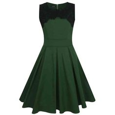Bowknot Round Neck Blended Cotton Dacron Skater Dress (€29) ❤ liked on Polyvore featuring dresses, green, cotton dress, skater dress, round neckline dress, green cotton dress and green dress