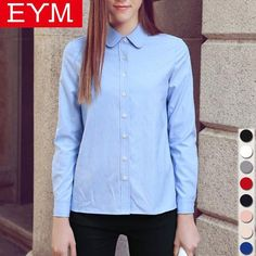 e07d1dae5fe Women Blouses 2018 New Arrived EYM Brand Casual Cotton Oxford Long Sleeved  Shirt Blusas Plus Size