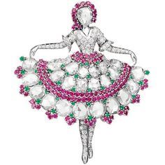 """Ballerina clip in the form of a dancer holding her skirt, platinum, diamonds, rubies and emeralds. Face is made of diamond-cut """"rose"""" in the frame of rubies, 1943, Van Cleef  Arpels"""