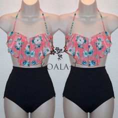 high waisted bikini set with flounce top - Google Search
