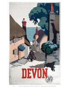 Vintage Travel Poster - UK - Devon - Railway