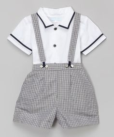 Look what I found on #zulily! Blue & White Button-Up & Suspender Shorts - Infant & Toddler by La Fleur & Le Papillon #zulilyfinds