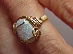 Opal man made Goldfilled Wire Wrapped Ring October by glsjewelry, $59.50