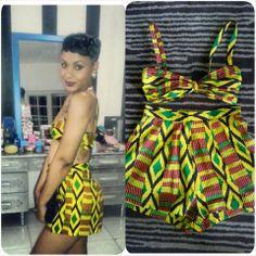 African print shorts set from 'YC'...SHOP HERE-- www.ycglamhead.bigcartel.com