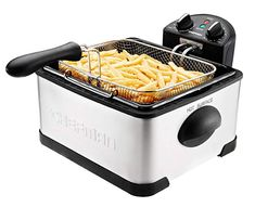 Chefman 4 Liter Deep Fryer w/Basket Strainer Perfect for Chicken Shrimp, French Fries & More, Cool Touch Handles, Removable Oil Container & Rotary Knob for Adjusting the Temperature, Stainless Steel Honey Fried Chicken, Perfect Fried Chicken, Buttermilk Fried Chicken, Chicken And Shrimp, Small Kitchen Appliances, Cool Kitchens, Cooking Appliances, Kitchen Gadgets, Best Deep Fryer