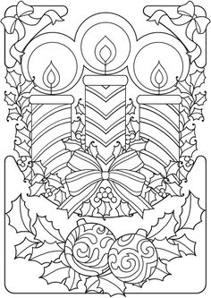 Welcome to Dover Publications From: Creative Haven An Old-Fashioned Christmas . - Welcome to Dover Publications From: Creative Haven An Old-Fashioned Christmas Coloring Book - Mandala Coloring Pages, Coloring Pages To Print, Coloring Book Pages, Printable Coloring Pages, Christmas Colors, Christmas Art, Christmas Candles, Father Christmas, Retro Christmas