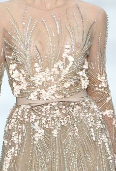 sheer dress Couture Beading, Couture Embroidery, Embroidery Fashion, Embroidery Dress, Elegant Dresses, Nice Dresses, Minimal Dress, Magazine Mode, Transparent Dress