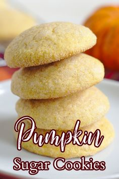 Pumpkin Sugar Cookies – These cookies are the perfect fall dessert! Sugar cookies with pumpkin in them, covered in sugar, and then baked! Pumpkin Recipes | Pumpkin Cookies | Fall Cookies Delicious Cookie Recipes, Easy Cookie Recipes, Best Dessert Recipes, Yummy Cookies, Pumpkin Recipes, Fall Cookies, Baking Recipes, Real Food Recipes, Lemon Cookies