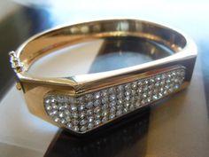 14K Yellow Gold Geometric Bangle with Pave Diamonds ☎ 949.855.9778 #PreviouslyEnjoyed #Estate #Jewelry