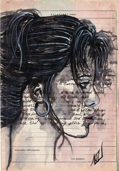 Claudette - One of a kind work of art - Original ink drawing on vintage paper by LaylaOzArt on Etsy