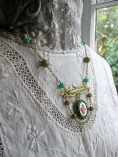 Painted Rose 1940s Pendant Necklace, Upcycled Vintage Jewelry Necklace/ by VintageWonderlandGA, $50.00